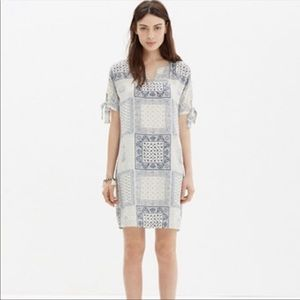 Madewell 100% Silk Print Tie Sleeve Bandanna Dress